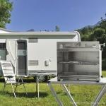 Klappbar und transportabel der WeGrill beim Camping