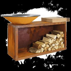 Ofyr-Feuerschale mit Grillplatte und Holzlager sowie Butcherblock -island-85-100