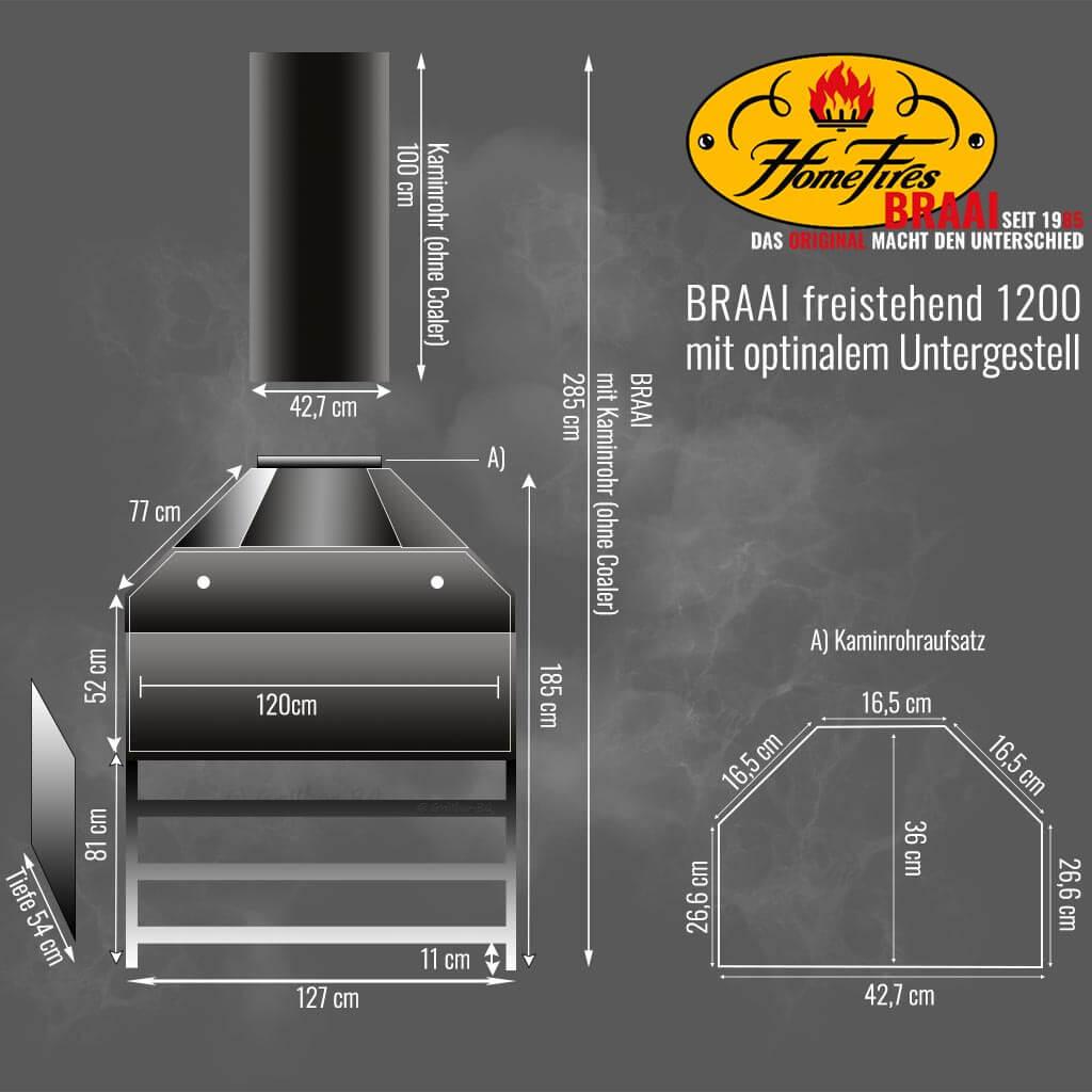 BRAAI Modell freistehend 1200 techn. Details und Maße