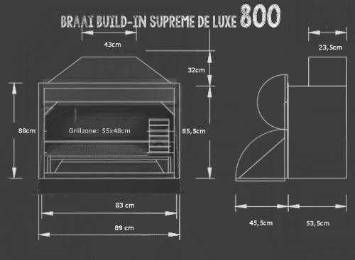 Braai Build-in 800 die Abmessungen