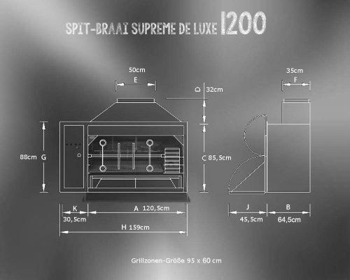 Spit-Braai Einbau 1200 Abmessungen