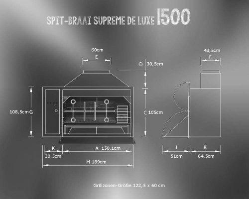 HomeFires Spit-Braai Einbaumodell 1500 Abmessungen