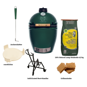 Big Green Egg Modell Large Starterpaket mit IntEGGrated Nest+Handler, convEGGtor, kohle, Grillanzünder, Ascheschieber