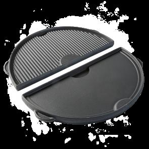 BigGreenEgg Zubehör halbrunde Grillplatte aus Gusseisen mit 2 Seiten für BGE Modelle L, XL und XXL
