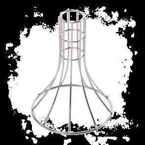 Ein Grillgestell für Truthahn aus Edelstahl zum vertikalen Stellen des Geflügel auf den Grill.