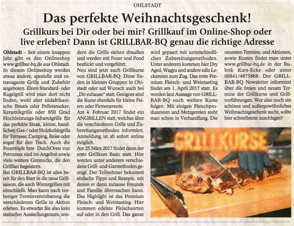 Merkur Dezember 2016 Grillkurs in Ohlstadt als Weihnachtsgeschenk