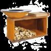 OFYR Feuerschale mit Feuerplatte, Holzlagerbank und Schneidbrett island-100-100