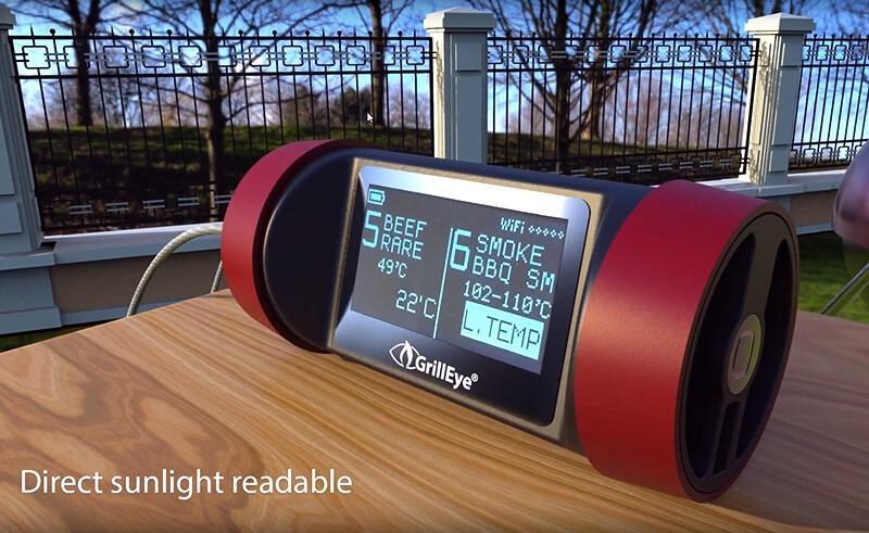 GrillEye Pro Plus - bei direkter Sonneneinstrahlung auch lesbar