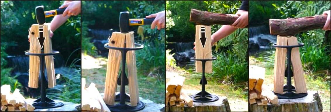 Holzspalter sicher Holzscheite mit Hammer oder Holzknüpel eintreiben