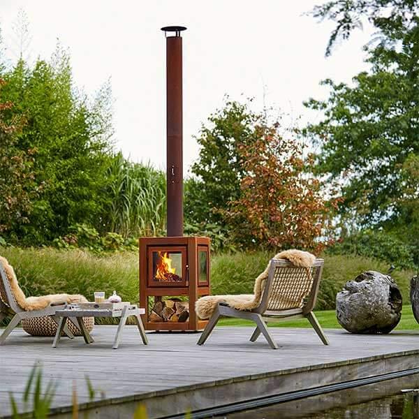 Holzfeuer Ofen für Terrasse RB73 Quaruba Large auf Rollen