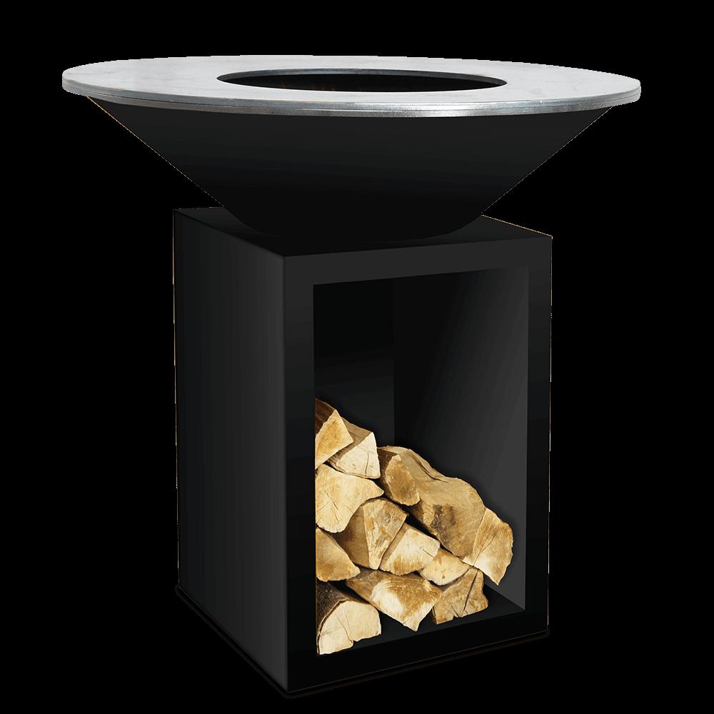 Ofyr Feuerplatte Classic mit Holzlager in Schwarz 100