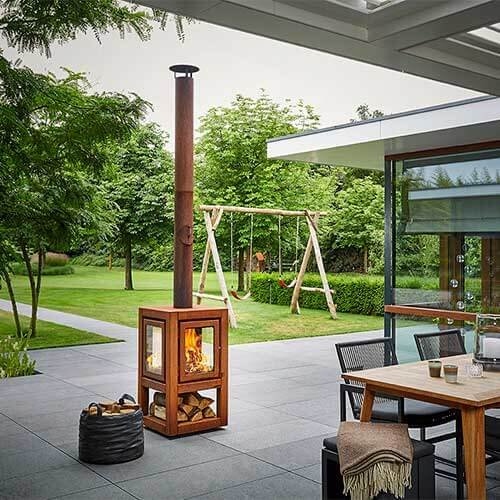 Kamin Holzfeuer für Terrasse RB73 Quaruba XL auf Rollen