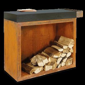 OFYR Butcher Block Corten mit Holzlager und Keramikarbeitsplatte sowie seitl. Einsteckfach