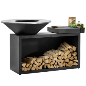 Ofyr Island 100 Black mit Ceramic Arbeitsplatte in Dark Grey