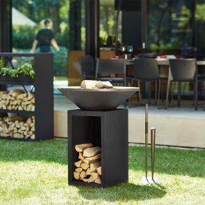 OFYR schwarz mit Holzlager Feuerplatte Grillplatte 85 Durchmesser