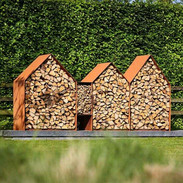 RB73 Holzlager Bruges aus Cortenstahl
