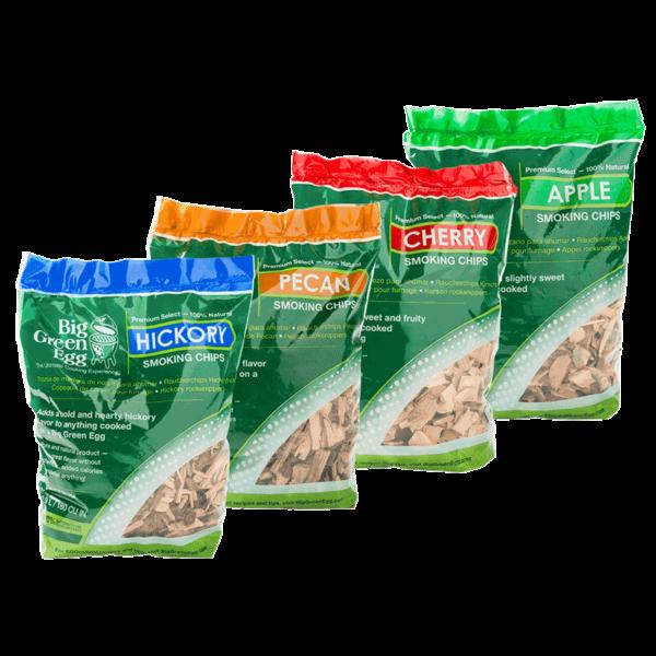 Wood Chips Holzchips in 4 Geschmacksrichtungen, Apfel, Pekan, Kirschen & Hickory